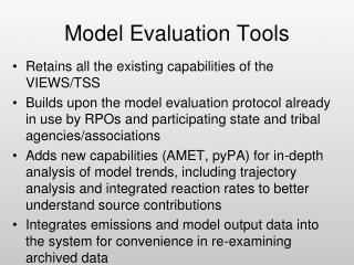 Model Evaluation Tools