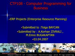 CTP108 - Computer Programming for Business