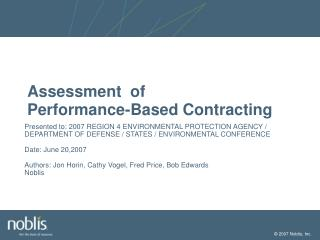 Assessment  of Performance-Based Contracting