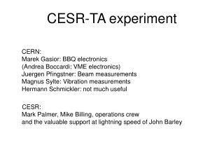CESR-TA experiment