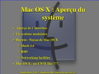 Mac OS X : Aperçu du système