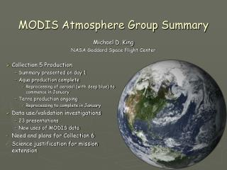 MODIS Atmosphere Group Summary