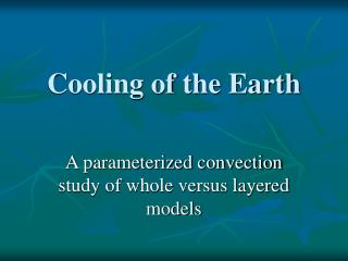 Cooling of the Earth