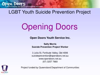 LGBT Youth Suicide Prevention Project Opening Doors