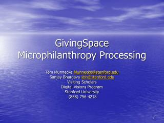 GivingSpace  Microphilanthropy Processing