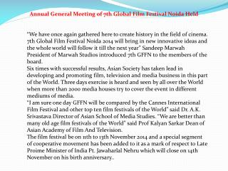 Annual General Meeting of 7th Global Film Festival Noida Hel