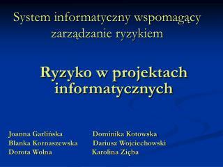System informatyczny wspomag?cy zarz?dzanie ryzykiem
