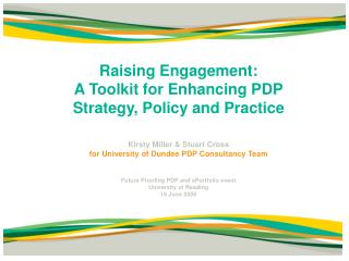Raising Engagement:  A Toolkit for Enhancing PDP Strategy, Policy and Practice