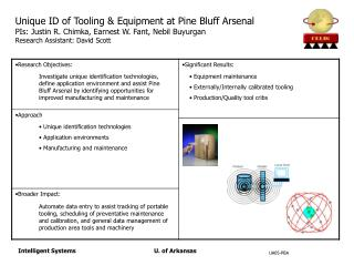 Unique identification technologies  Application environments  Manufacturing and maintenance