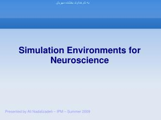 Simulation Environments for Neuroscience