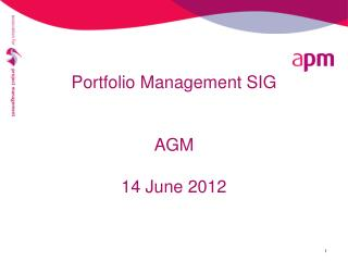 Portfolio Management SIG AGM  14 June 2012