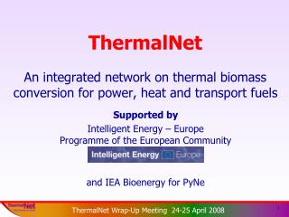 ThermalNet An integrated network on thermal biomass conversion for power, heat and transport fuels