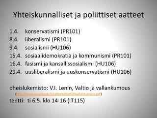 Yhteiskunnalliset ja poliittiset aatteet