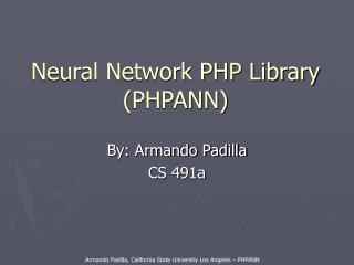 Neural Network PHP Library (PHPANN)