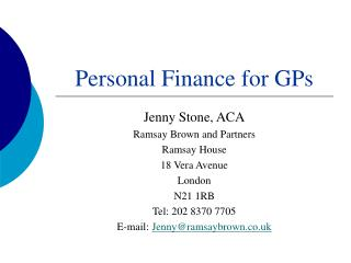 Personal Finance for GPs
