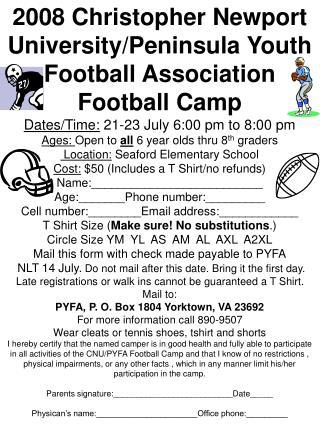 2008 Christopher Newport University/Peninsula Youth Football Association Football Camp