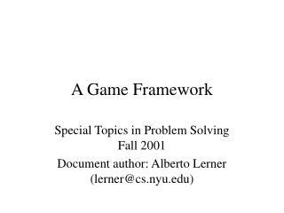 A Game Framework