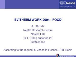 EVITHERM WORK 2004 : FOOD