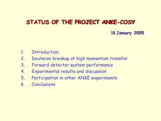 STATUS OF THE PROJECT ANKE-COSY