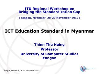 ICT Education Standard in Myanmar