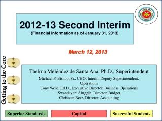2012-13 Second Interim (Financial Information as of January 31, 2013)