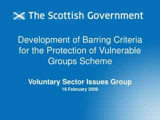 Development of Barring Criteria for the Protection of Vulnerable Groups Scheme