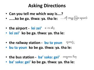 Asking Directions