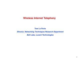 Wireless Internet Telephony