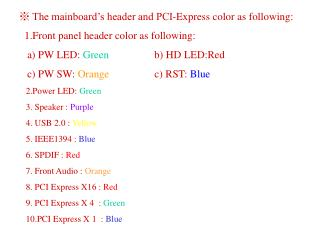 ※ The mainboard's header and PCI-Express color as following: