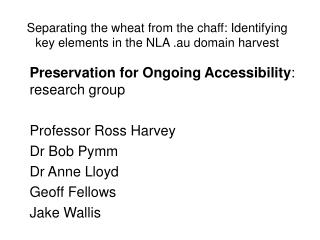 Separating the wheat from the chaff: Identifying key elements in the NLA .au domain harvest