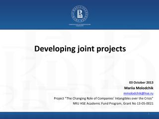 Developing joint projects