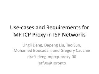Use-cases and Requirements for MPTCP Proxy in ISP Networks