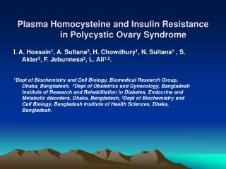 Plasma Homocysteine and Insulin Resistance in Polycystic Ovary Syndrome