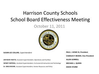 Harrison County Schools School Board Effectiveness Meeting