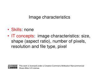 Image characteristics