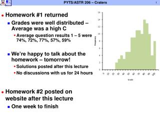 Homework #1 returned Grades were well distributed – Average was a high C