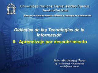 Did�ctica de las Tecnolog�as de la Informaci�n II.  Aprendizaje por descubrimiento