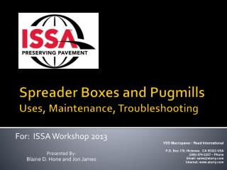 Spreader Boxes and Pugmills Uses, Maintenance, Troubleshooting