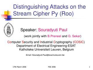 Speaker:  Souradyuti Paul (work jointly with  B.Preneel  and  G. Sekar )