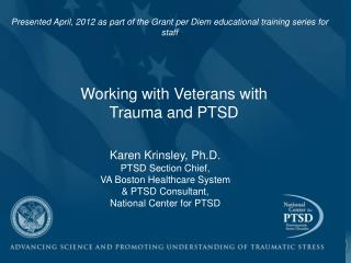 Working with Veterans with Trauma and PTSD