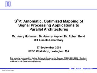 S 3 P: Automatic, Optimized Mapping of Signal Processing Applications to Parallel Architectures