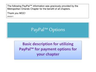 PayPal™ Options
