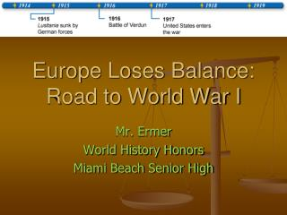 Europe Loses Balance: Road to World War I