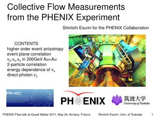 Collective Flow Measurements  from the PHENIX Experiment
