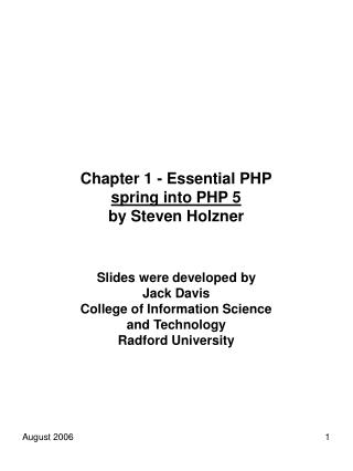 Chapter 1 - Essential PHP spring into PHP 5 by Steven Holzner