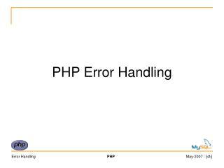 PHP Error Handling