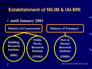 Establishment of NILIM & IAI-BRI