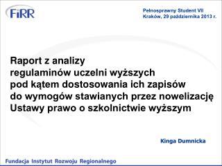 Raport z analizy  regulaminów uczelni wyższych  pod kątem dostosowania ich zapisów