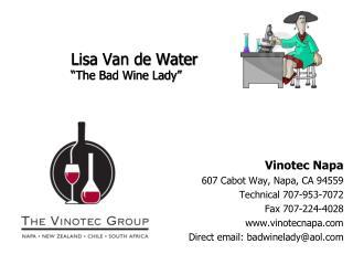 Lisa Van de Water  The Bad Wine Lady
