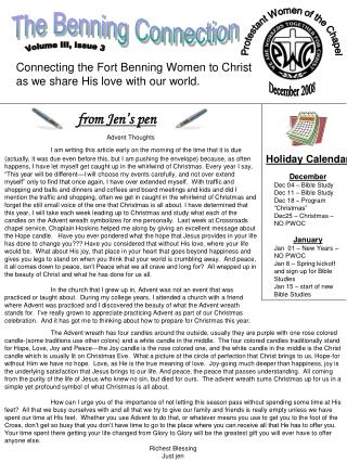 Connecting the Fort Benning Women to Christ as we share His love with our world.
